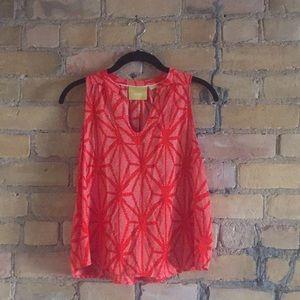 Anthropologie coral/orange tank blouse